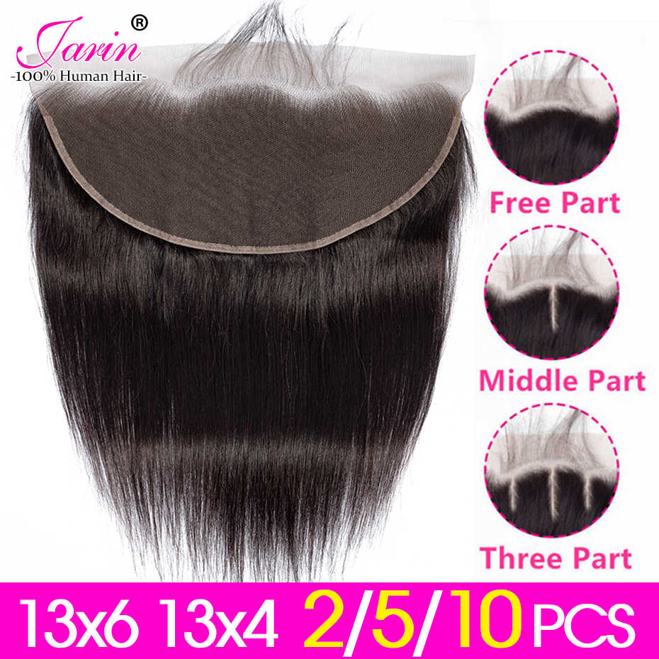 2-5-10 Pieces/lot Peruvian Straight Hair 13x4 13x6 Lace Frontal Free Middle Three Part Medium Brown Lace Remy Human Hair