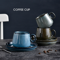 New Chinese Style Ceramics Coffee Cup Saucers Suit Restaurant Hotel Big Capacity Cappuccino Latte Coffee Mugs Copo Black Tea Cup