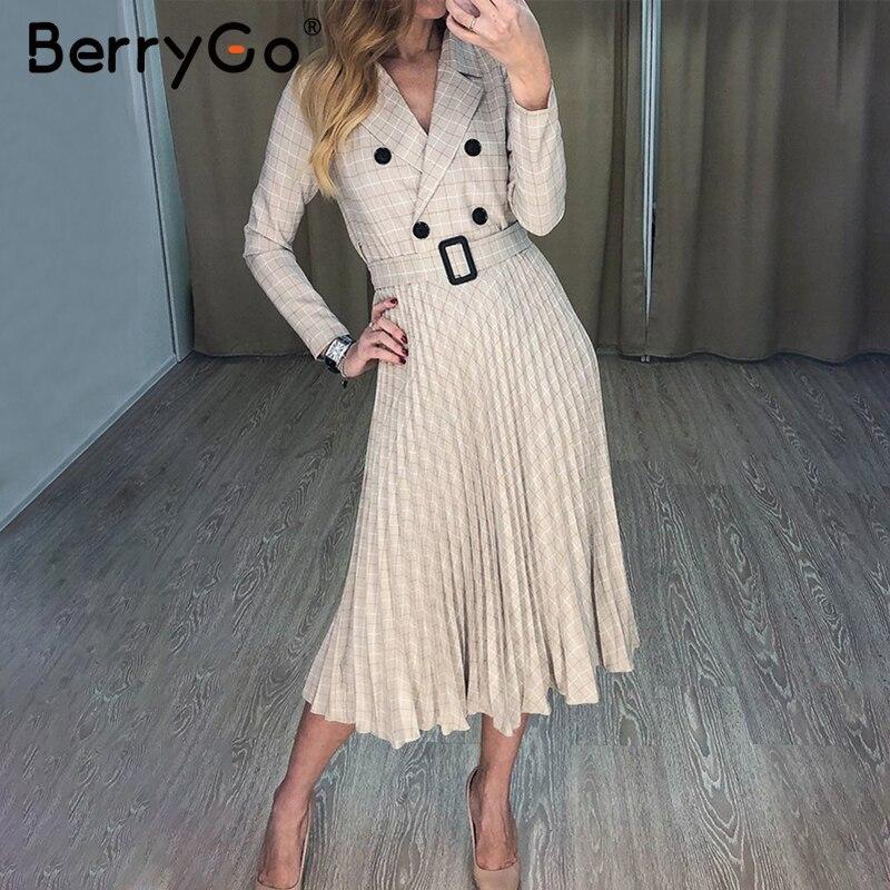 BerryGo Autumn winter women blazer dresses vestidos Pleated plaid  long dress elegant Office ladies high waist belt female robeDresses