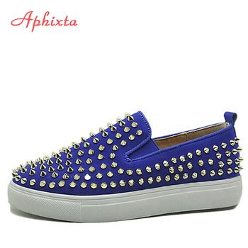 Aphixta Blue Flat With Shoes Women Loafers Men Flats Leather Revits Couple Platform Shoes Woman Black Flat Heels Students Shoe
