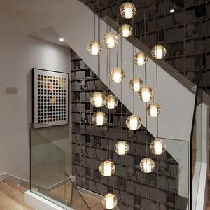 Image 3 - Youlaike יוקרה מודרני נברשת תאורה גדול מדרגות LED קריסטל אור גופי מלוטש פלדת תליית זוהר Cristal