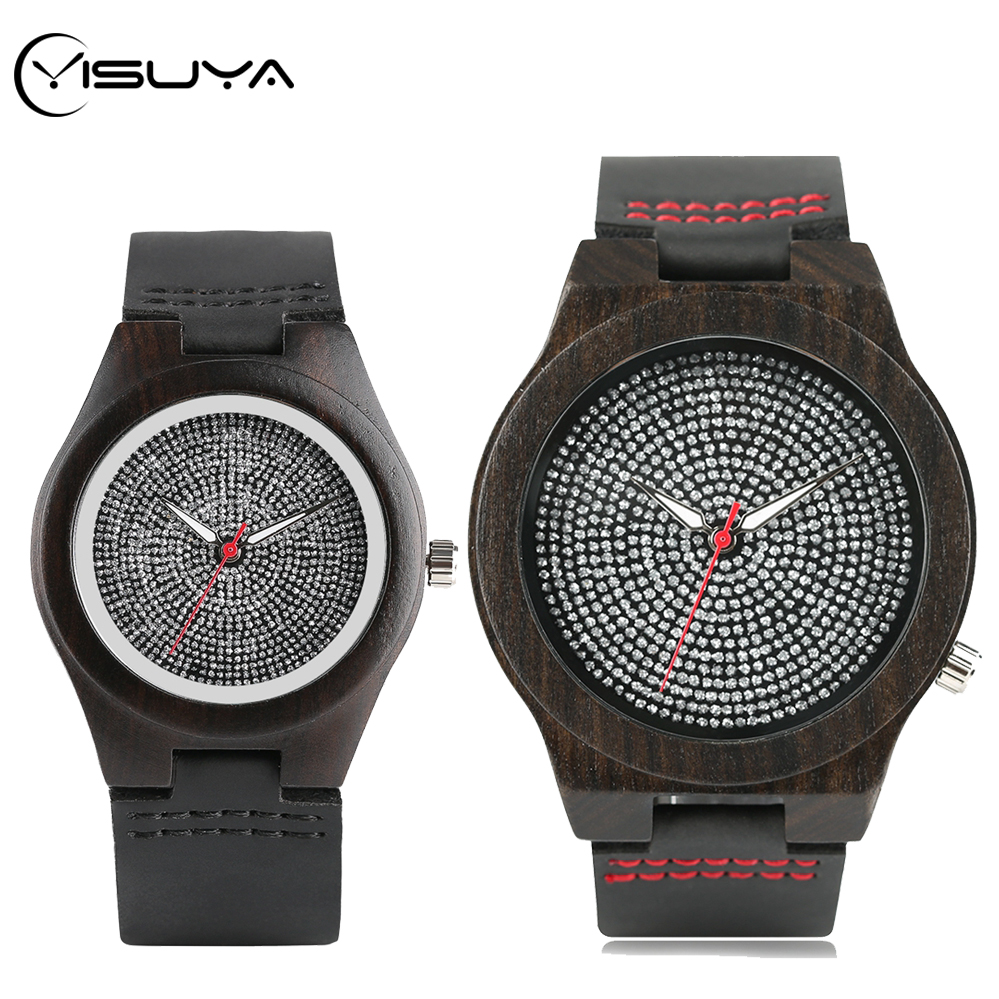 YISUYA Men's Watch Retro Ebony Wood Watches Crystal Diamond Dial Women's Dress Wrist Watch Genuine Leather Couple Souvenir Gifts
