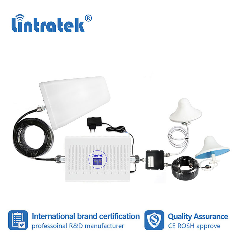 Lintratek 70db 1800 2100mhz 3g 4g LTE Dual Band DCS WCDMA AGC Cell Phone Signal Booster GSM 2g 4g 1800 Repeater Amplifier Kit Fs