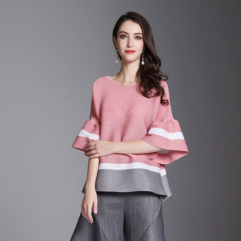 Мияки высокой моды Женская плиссированная расклешенная рубашка с рукавами со вставками и сочетающихся цветов темперамент футболка большие размеры omighty одежда|Блузки| | АлиЭкспресс