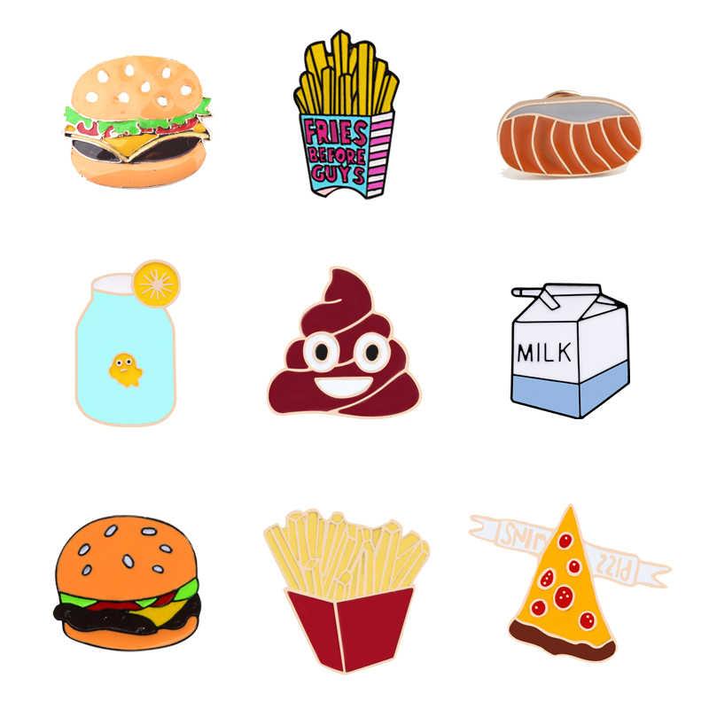การ์ตูนน่ารักเครื่องประดับเข็มกลัด Badge Fries Burger ขนมปังนม ORANGE JUICE พิซซ่าอึ Pins lapel PIN DENIM เสื้อแจ็คเก็ตเข็มกลัด