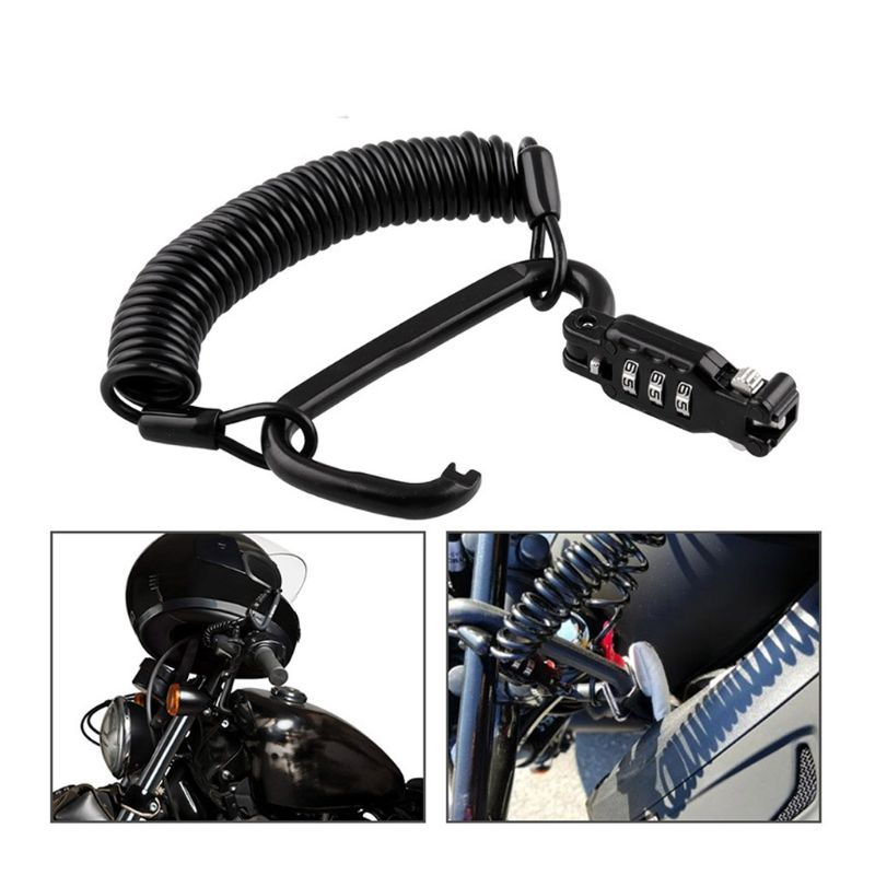 1 Pc Anti-thef Tough Motorcycle Helmet Lock With Black Combination Pin Locking Carabiner Device Motorbike Accessories