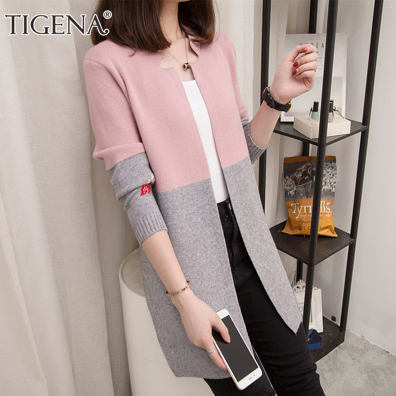 TIGENA Long Cardigan Women 2019 Autumn Winter Patchwork Contrast Color Long Sleeve Cardigan Female Korean Knitted Jacket Women