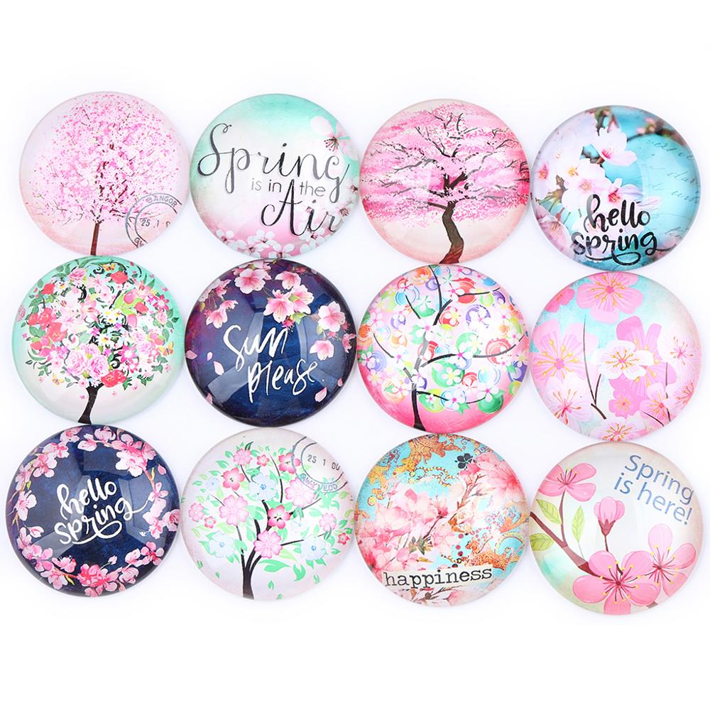 Mixed Spring Flower Photo Round Glass Cabochon 12mm 14mm 16mm 18mm 20mm 25mm 30mm Diy Flatback Handmade Jewelry Findings