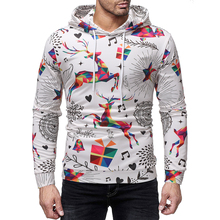 2019 Autumn Men's Hooded Sweatshirt Christmas Elk Element Print Pullover Fashion Plus Size Loose Hoodies Casual Male Streetwear father christmas print loose fit sweatshirt
