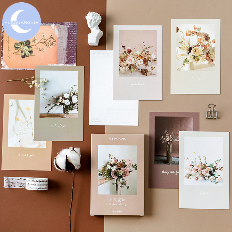YueGuangXia See You Again Flower Ins Style Beauty Postcard Vintage Retro Style Creative Writing Greeting Gift Postcard 30pcs/box