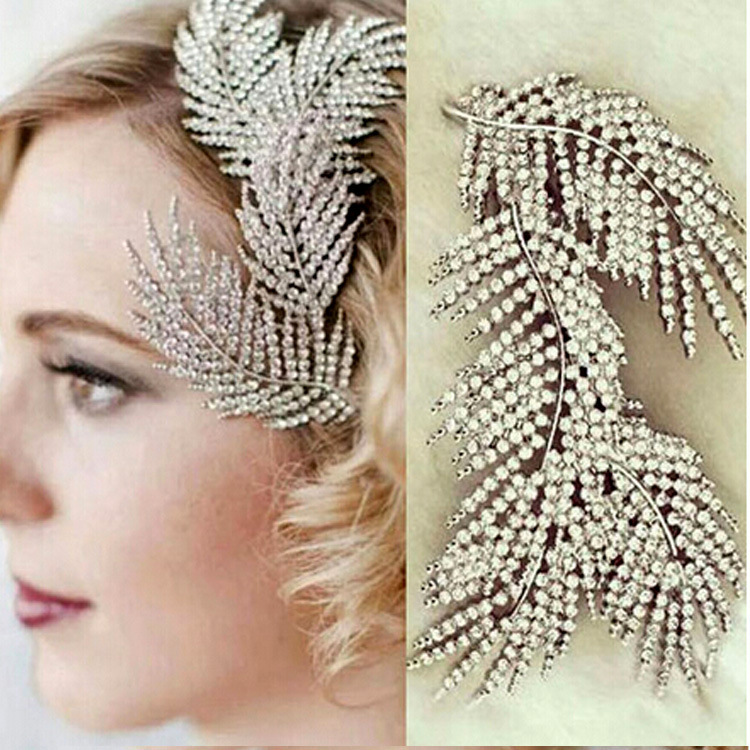 Baroque rhinestone Flash leaves feather hairpin bridal party hair clips for girls wedding accessories headpiece crown