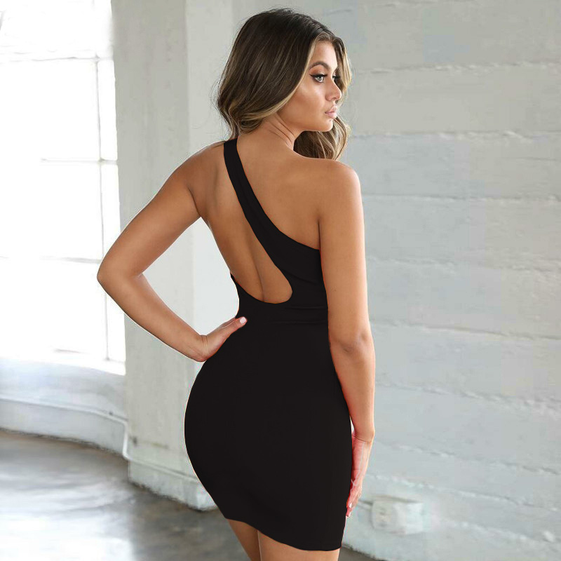 New Black One Shoulder Club Party <font><b>Sexy</b></font> <font><b>Dress</b></font> Summer Women Sleeveless Bodycon Mini <font><b>Dresses</b></font> <font><b>Plus</b></font> <font><b>Size</b></font> Vestido White Casual <font><b>Dress</b></font> image