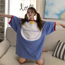 Photo Shoot 2019 Spring And Autumn Hot Selling Harajuku Cute Doraemon over-the-Knee Large Size Pajamas Thickness(China)