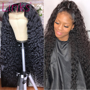 Links Deep Wave Lace Front Wigs 28 30 Inch 360 Lace Frontal Water Curly Wig Brazilian Remy Human Hair Pre plucked(China)