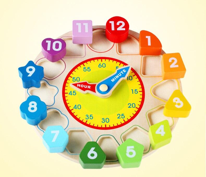 Digital geometría correspondencia cognitiva reloj de juguete de madera de 12 números juguetes de reloj de los niños del bebé temprano rompecabezas educativo de juguete