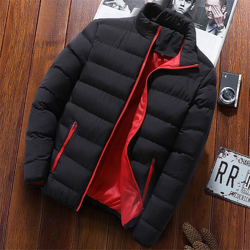 Men 2019 Fashion Stand Collar Autumn Winter Parka Jacket M-4XL Plus Size Men's Thick Zipper Pocket Slim Coat Jacket Windbreaker
