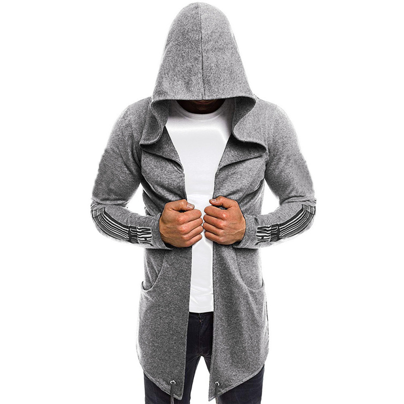 Mens Hoodies Sweatshirt Fashion Splicing Hooded Solid Trench Coat Jacket Cardigan Long Sleeve Outwear Blouse Assassins Creed image