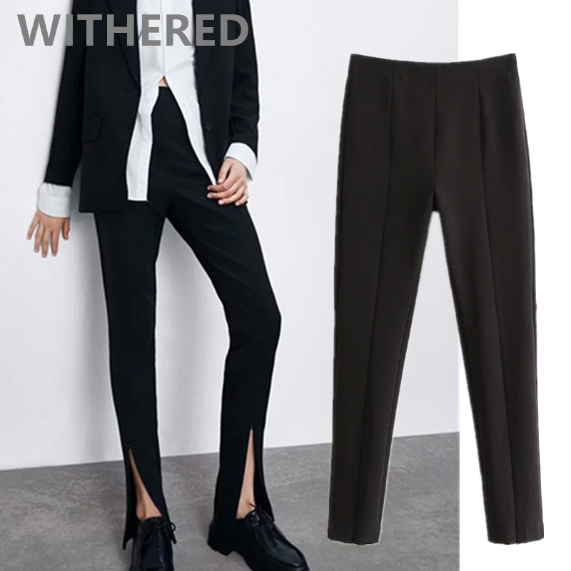 Withered 2020england Simple Vintage Black Fork Open Skinny Pencil Pants Women Pantalones Mujer Pantalon Femme Trousers Jumpsuits
