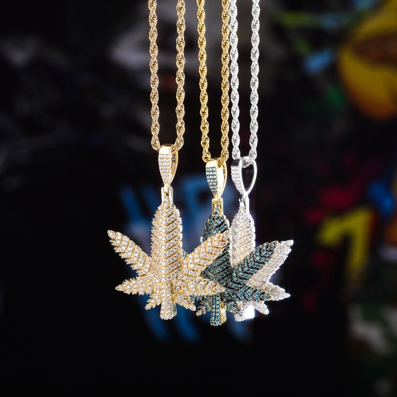Hip Hop Micro Pave AAA CZ Stone Bling Ice Out Maple Cannabiss Marijuanas leaf Pendants Necklace for Men Rapper Jewelry image