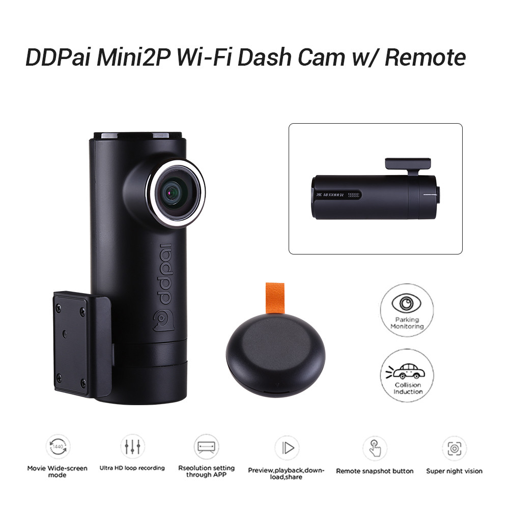 WDR 330/° View Dashboard Camera Recorder with Night Version G-Sensor Parking Mode ddpai Mini2P FHD 1440P Wi-Fi Car Dash Camera with F1.8 Zero Distortion Lens Dash Cam