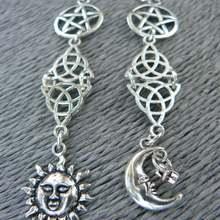Языческие серьги богиня виккан кельтский солнце и луна Пентакль пять элементов ведьма серьги Wicca Мода для женщин подарок серебро