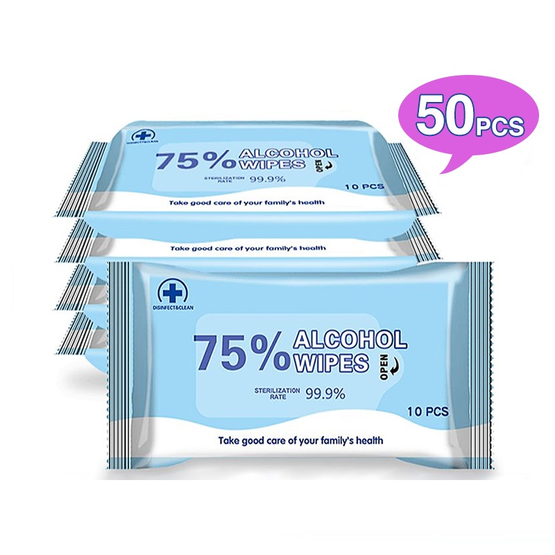 50 Pcs 75% Alchohol Wipes Big Large Hand Bulk Disinfection Portable Antibacterial Disinfectant Wet Wipe Tissue