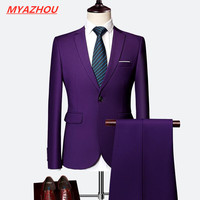2019 Men's Business Casual Workwear Large Size Solid Color Slim Men's Suit Wedding Groom 2 Piece Set (Jacket + Pants) S 6XL