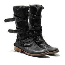 Autumn Winter Buckle Mid-Calf Boots 2019 Women Fashion Retro Flat Heel Woman Leather Snow PU Large Size 43