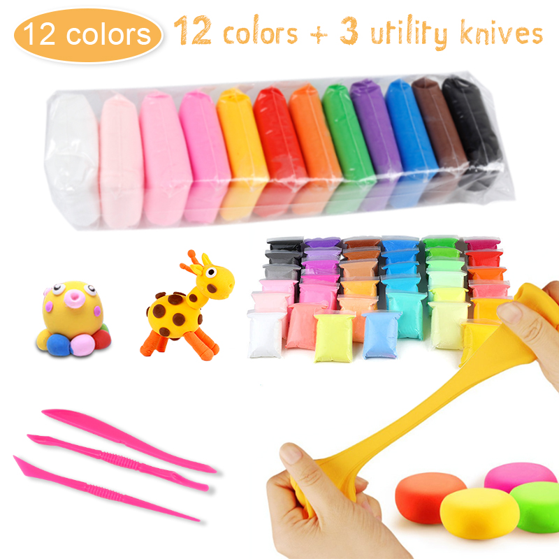12 Colors Clay Toys DIY Toy  With Tools Learning Hands-on Toys For Children Nail Art  Hands Plasticine Safe Clay Toys