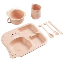 1 Set 6Pcs Baby Divided Plate Kid Dinosaur Plate Bowl Cup Spoon Fork Chopsticks
