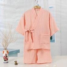 Детское кимоно из чистого хлопка, домашняя одежда в японском стиле, комплект из 2 предметов, Влагоотводящая Одежда для мальчиков Ночная рубашка в комплекте с купальным халатом для девочек