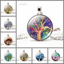 Fashion Tree of Life Pendant Silver Color Necklace Glass Cabochon Jewelry Life Tree Chain Choker Pendant Jewelry Gift for Women eudora 925 sterling silver tree of life necklace cloud tree pendant fortitude design jewelry for women happy birthday gift d449