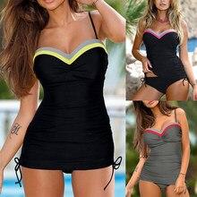 Maillot de bain noir solide, Tankini, épaules dénudées, soutien-gorge rembourré, Push Up, pour femmes, vêtements de plage, 3XL