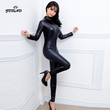 Club Outfits Zipper Bodysuit Jumpsuit Sexy Turtleneck Open-Back Women Romper Long-Pants
