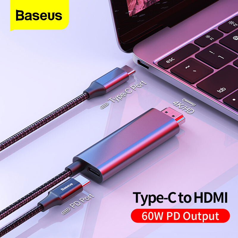 Baseus USB C HDMI Cable Type C to HDMI Thunderbolt 3 60w PD Power Adapter for MacBook Pro iPad Type c USB C to 4K HDMI Wire CordHDMI Cables   -
