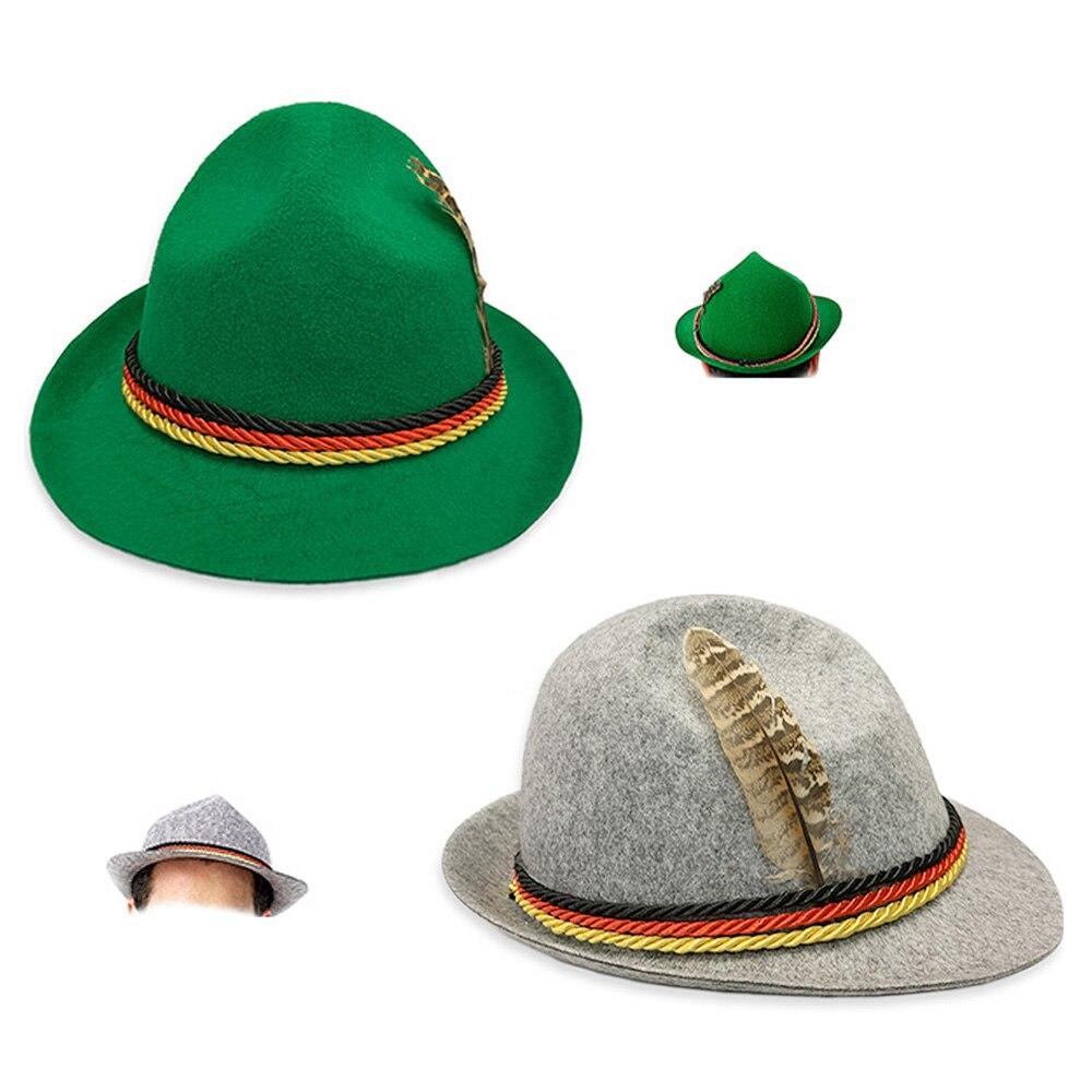 Tyrolean Hat Oktoberfest Wool Bavarian Alpine Felt Hat Chapeau//Fedora Rope Hat Army Green