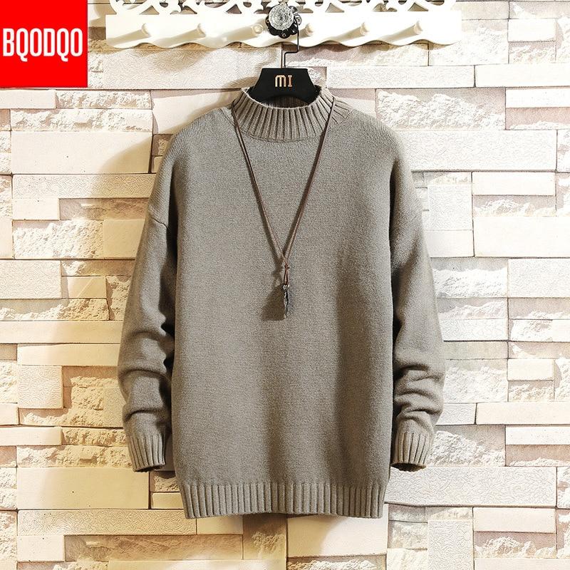 WHite Knitted Winter Warm Turtleneck Sweater Men Jumper Slim Fit Casual Sweaters Male Streetwear Classic Pullovers PLUS SIZE 5XL