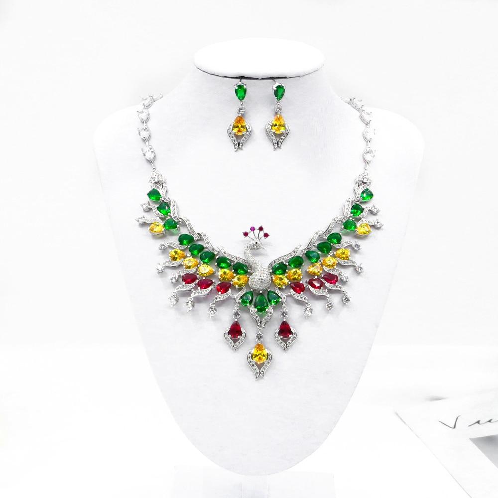 Paon collier boucles d'oreilles ensemble cristal incrusté à la main de mariage ensemble de bijoux de mariée paon conception de mode Pop bijoux de noël