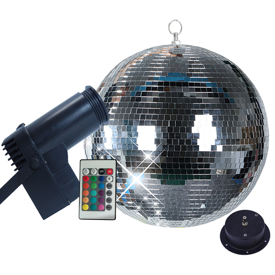 Thrisdar Rotating Mirror Disco Ball party Light With 10W RGB Beam Pinspot Stage Light With Remote Holiday Xmas KTV Mirror Ball