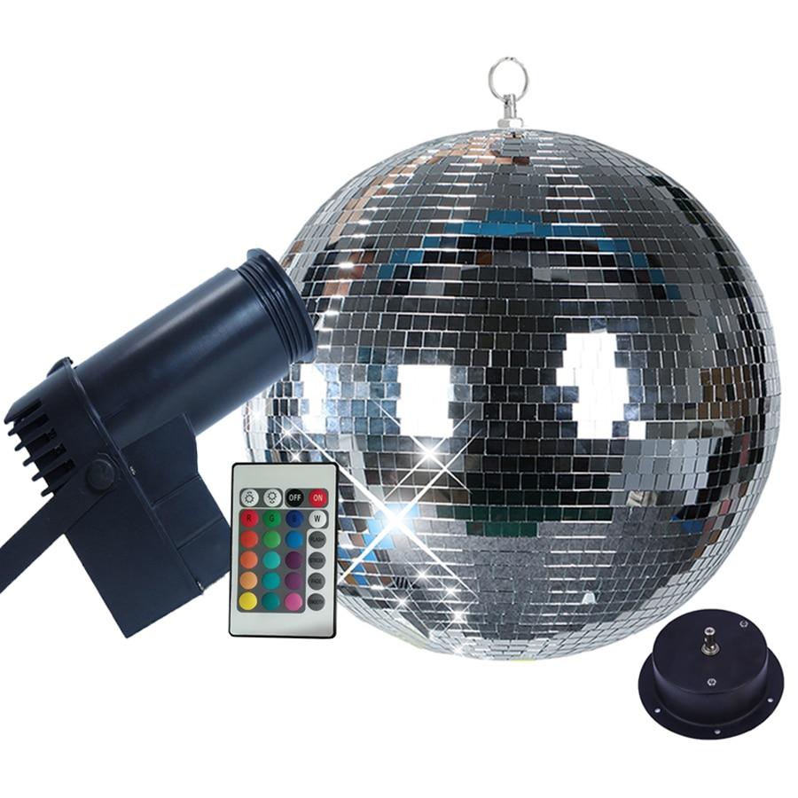Thrisdar Rotating Mirror Disco Ball Party Light With 10W RGB Beam Pinspot Stage Light With Remote Holiday Xmas KTV Mirror Ball