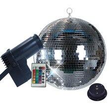Thrisdar giratoria Bola de espejo para discoteca fiesta luz 10W RGB haz Pinspot luz de la etapa con control remoto de vacaciones de Navidad de KTV BOLA DE ESPEJO