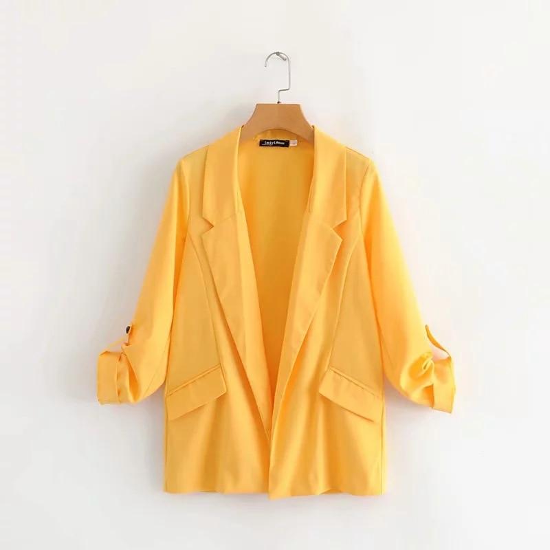 Autumn women's jacket Temperament long sleeve loose yellow blazer Jacket woman Casual Cardigan Suit Office Top 2019 New
