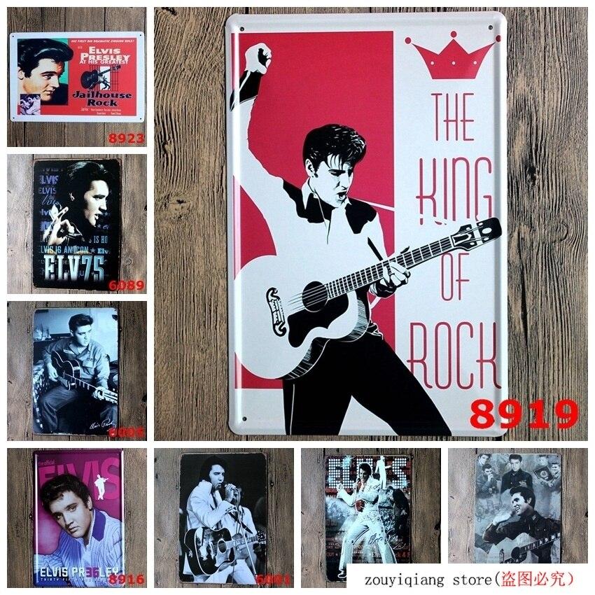 ¡Elvis Presley! 20*30cm garaje Vintage estaño signos Retro letrero de Metal de la pared Decoración Colgante de ventana de bola de vidrio de arcoíris de Chakra de Metal en 3D, colgante de cristal hecho a mano con prismas de mariposa y corazón