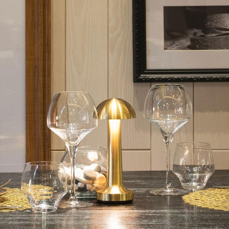 Brass Cordless Bar Table Lamps Restaurant Portable Battery Desk Lamp Modern Chargeable Night Lights Bedside Stand Light Fixtures