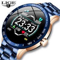 Reloj inteligente con banda de acero LIGE para hombre, Monitor de presión arterial, Modo deportivo multifunción, rastreador de Fitness, reloj inteligente resistente al agua