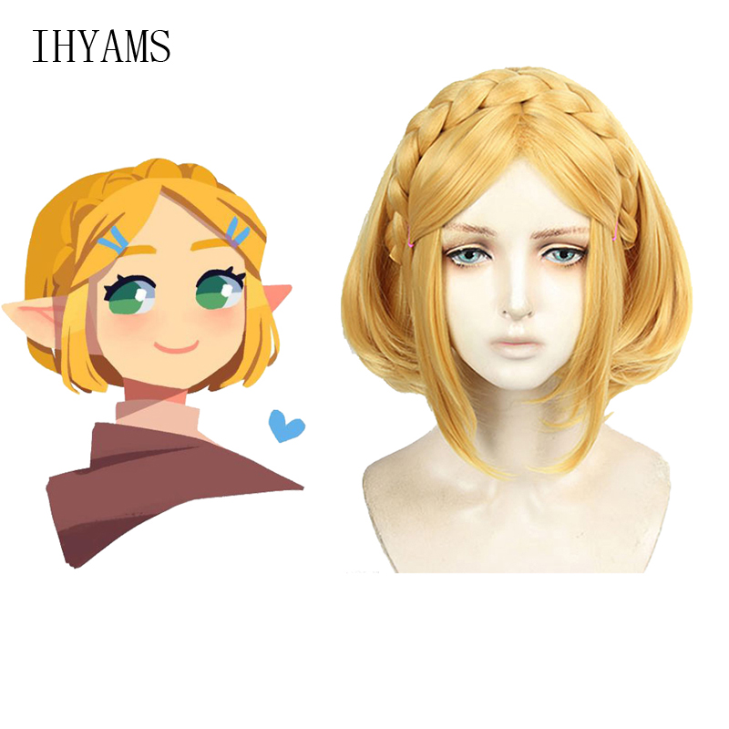 Game The Legend Of Zelda: Breath Of The Wild Princess Zelda Wigs Short Heat Resistant Synthetic Hair Cosplay Wigs + Wig Cap