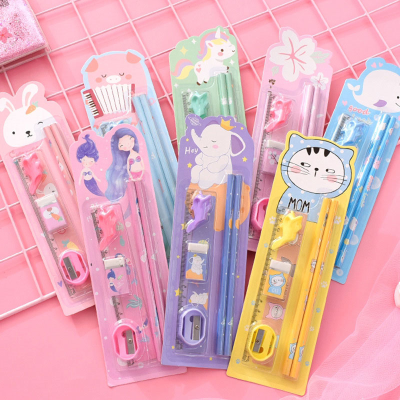 6Pcs/Set Cute Cartoon Animals Pencils With Eraser Ruler Sharpener Pen Grip For Kids Gifts School Supplies Kawaii Stationery Set