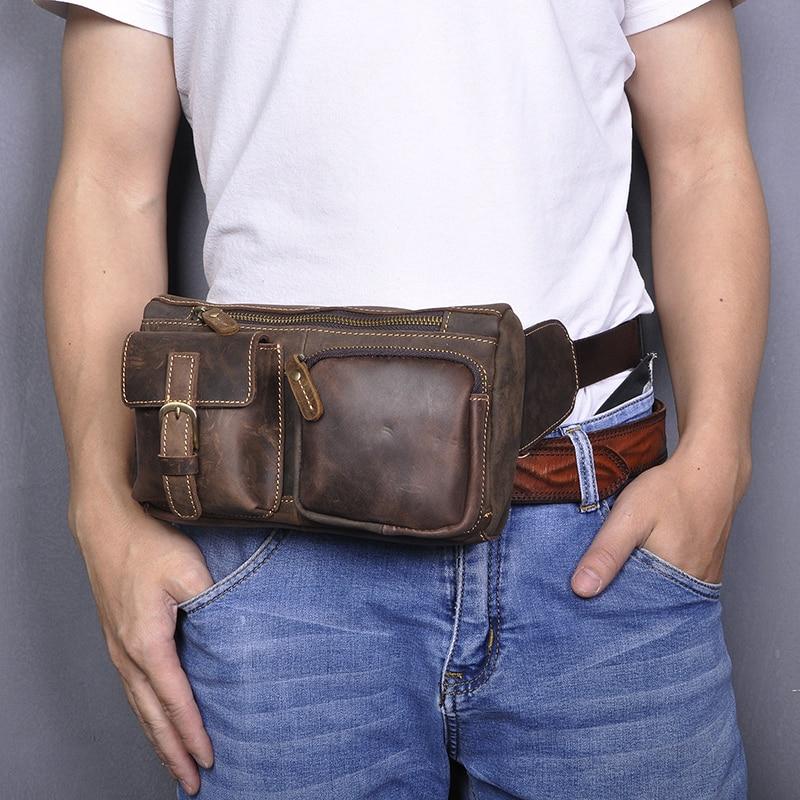 Quality Leather Casual Fashion Fanny Waist Belt Bag Chest Pack Sling Bag Design Travel Phone Cigarette Case For Men 811-10-d