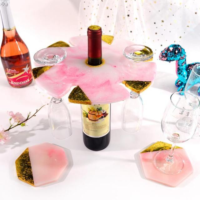 Wine Glass Rack Irregular Flower Tray Silicone Mold DIY Resin Wine Shelf Cup Home Decoration Crystal Epoxy Resin Mold