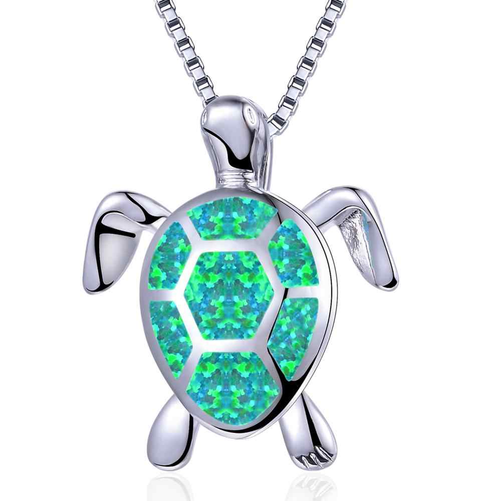 Luxo feminino azul branco verde opala colar 925 prata esterlina casamento colar grande tartaruga pingentes colares para mulher